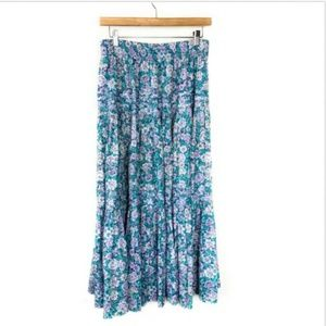 VINTAGE LAURA ASHLEY Floral Long Skirt Tier 80s L